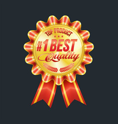 set excellent quality red badges with gold vector image
