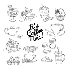 set fresh desserts coffee tea berry ice vector image