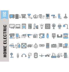 Set home electric appliance icon in grey vector