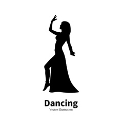 Silhouette Bollywood Eastern belly dancing girl vector