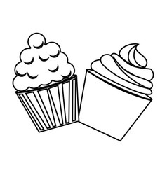 Silhouette cream cupcakes set icon food vector