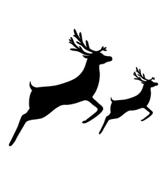 silhouette of a reindeer with a cub vector image