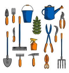 Sketches of hand tools for farming and gardening vector image