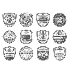 Spare parts car service and garage station icons vector
