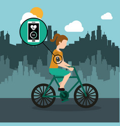 Sport woman riding bike with smartphone healthy vector