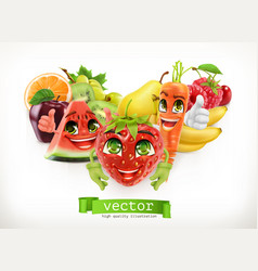 strawberry watermelon carrot and juicy fruits vector image