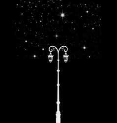 Street light lamppost under the stars star tree vector