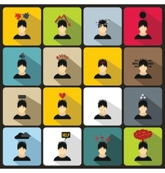 Stress icons set in flat style vector image