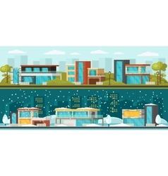 Suburban Landscape Horizontal Banners vector image