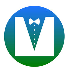 Tuxedo with bow silhouette white icon in vector