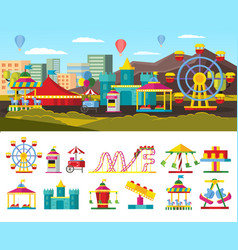 Urban amusement park concept vector