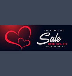 valentines day sale and discount banner design vector image
