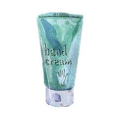 Watercolor hand cream blue green color vector