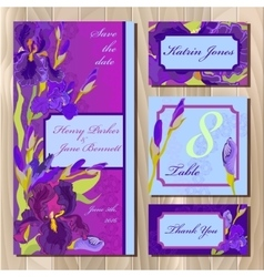 Wedding card design with purple iris flowers vector