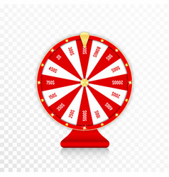 wheel fortune spinning fortune wheel in red vector image