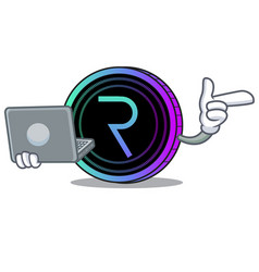 With laptop request network coin character cartoon vector