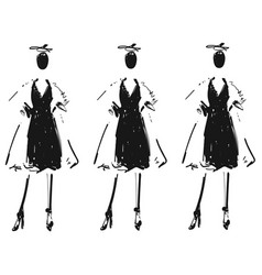 Woman in a black dress and coat fashion models vector