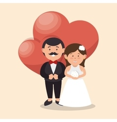 bride and groom wedding love heart design graphic vector image