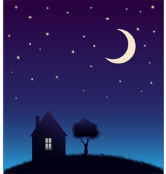 House and tree and night sky with stars and moon vector image