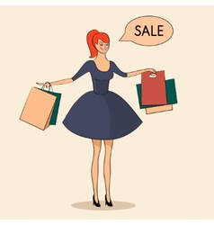 Lady with some bags sale vector image
