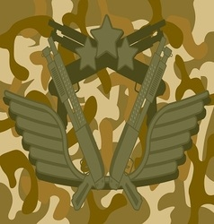 Military Logo Shotgun vector image