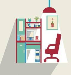 office flat set of office furniture vector image vector image