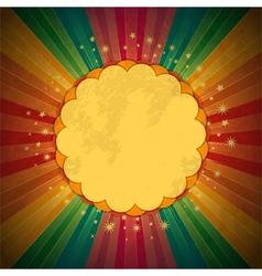 retro rainbow starburst and border vector image