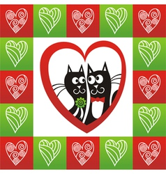 Valentines day card cats heart vector image vector image