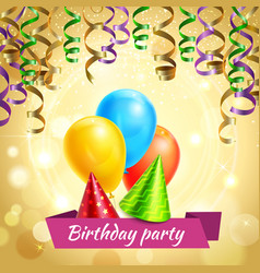 birthday celebration decorations realistic vector image vector image