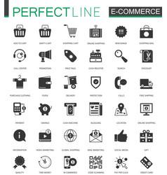 Black classic e-commerce shopping icons set vector