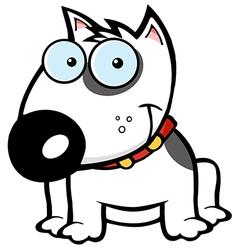 Happy White Bull Terrier Sitting vector image