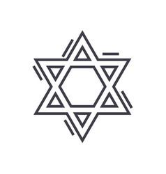 jewish david star line icon sign vector image