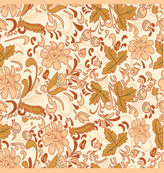 Seamless brown flowers background vector image vector image