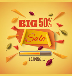 big sale banner with abstract leafs vector image vector image
