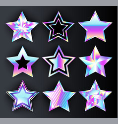 Set of holographic stars vector