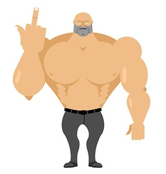 Strong man in jeans with big muscles shows vector image vector image