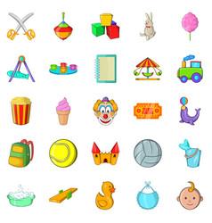children activity icons set cartoon style vector image