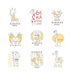 cute giraffe logo template original design set vector image