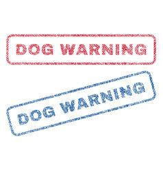 Dog warning textile stamps vector