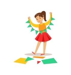 Girl doing paper garland creative child vector