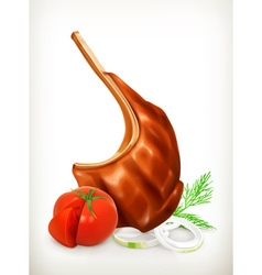 Grilled meat rib with vegetables icon vector image