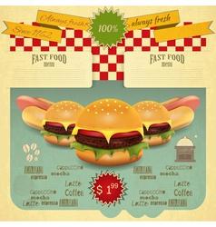 Hamburger and Hot Dogs vector image