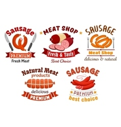 Meat butcher shop signs vector image vector image