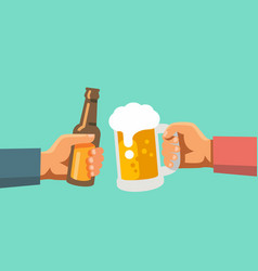 two hands holding beer glass and beer botle vector image