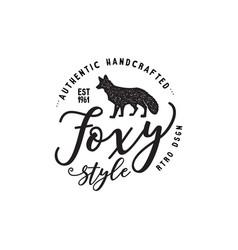 vintage hand drawn wild animal label fox vector image vector image