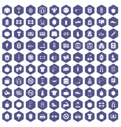 100 gym icons hexagon purple vector