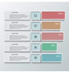 Abstract 3D Paper Infographics color vector