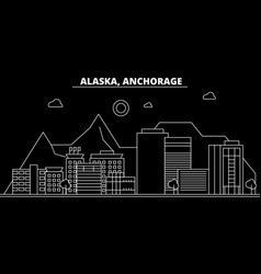 anchorage silhouette skyline usa - anchorage vector image