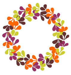 Autumn laurel wreath frame isolated on white vector