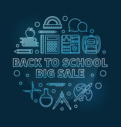 back to school big sale blue round thin vector image